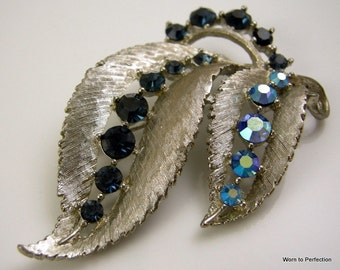1950s Leaf and Berry Brooch with Montana and Aurora Borealis Blue Rhinestones