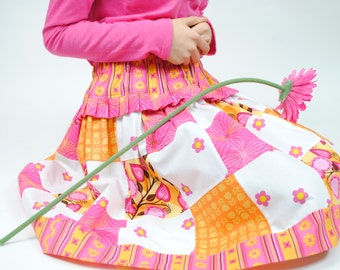 Girl's Patchwork Skirt...Handmade, Girl Skirts, Toddler Skirt, Children, Twirly Skirt, Kids Clothing size 2T 3 4 5 6 7 8