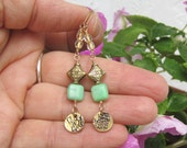 Asian Inspired- Gold and Green agate earrings- long beaded earrings