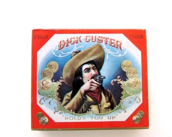 Vintage Tobacco Tin Case Dick Custer Wild West Cigar Collectible