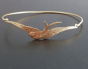 Swallow Bracelet, Swallow Jewelry, Swallow Bird, Gift for Bird Lover, Gift for Nature Lover, Nature Bracelet, Frosted Willow Swallow Bangle