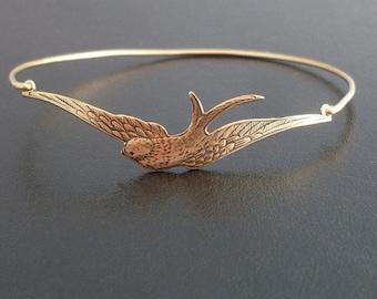 Swallow Bracelet, Swallow Jewelry, Swallow Bird, Gift for Bird Lover, Gift for Nature Lover, Nature Bracelet, Frosted Willow Swallow Bangle