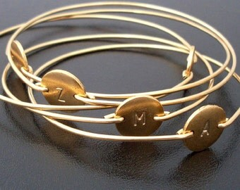 Set of 4 Gold Initial Bracelets, Personalized Bridesmaid Bracelets, Personalized Bridesmaid Jewelry Set, Monogram Jewelry Gift