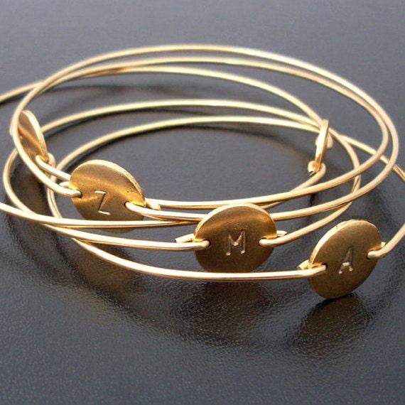 Set of 4 Gold Initial Bracelets, Personalized Bridesmaid Bracelets, Personalized Bridesmaid Jewelry Set, Monogram Jewelry Gift