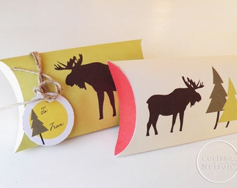 Moose Northwoods Christmas Gift Box - Printable Instant Download - Gift Tag