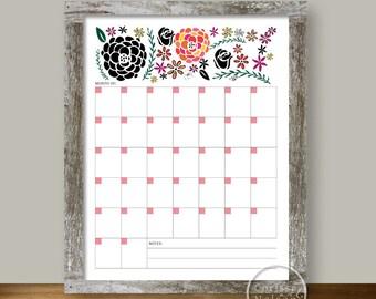 Calendar Garden Flowers - Blank Monthly Printable