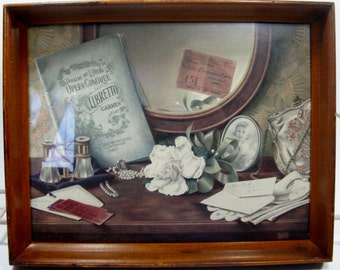 Still Life vintage print by Alice Smith in Shadow Box Wooden Frame