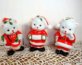 Boxed set Of 3 Christmas Ceramic Bears, Red and White Holiday Decor, Santa Claus Bears  (151-14)