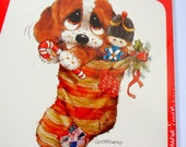 Christmas Postcards, Big Eye Dog in Stocking, PuppyNew Old Stock   (159-14)