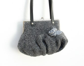 Black Grey Pouch Clutch Hand knitted with Felt Roses