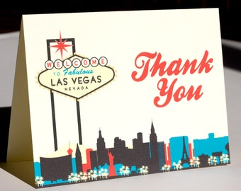 Single Las Vegas Thank You Card Colorful Skyline Wedding Event City Vegas Sign Folded