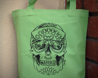 skull silkscreen/ tote bag
