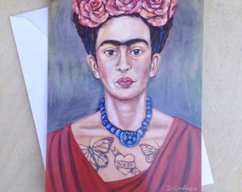 Frida Kahlo - Postcard - mini print - mexican art - mexican art