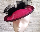 Hot Pink and Black With Roses Saucer Hat - great for a wedding or the races