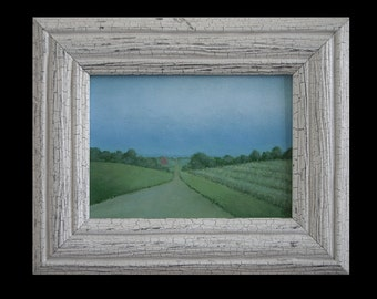 Framed Country Landscape Painting Barn 5 x 7  barn painting Study Original farm painting Fine Art Gift Folk Art Painting Tonalist landscape