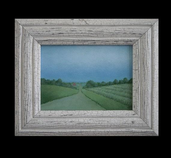 Country Landscape Painting Barn 5 x 7 Framed Small painting Study Original farm painting Fine Art Gift Folk Art Painting Tonalist landscape