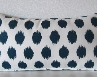 Ikat navy blue decorative lumbar pillow cover - white and blue accent pillow cover