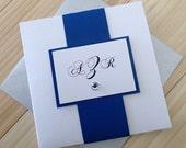 Square Pocketfold Invitation: Royal Blue & White Event Invitation, Modern Handmade Wedding Invitation, Custom Pocketfold Invite