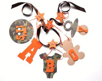 Camo and orange baby shower decorations It's a boy banner by ParkersPrints on Etsy