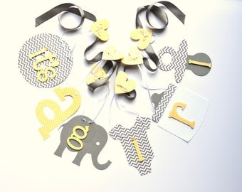 Elephant baby shower decorations Yellow and grey chevron it's a girl banner by ParkersPrints on Etsy
