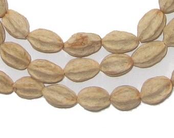 90 Marbiney Natural Seed Beads from Kenya - African Wood Beads - Jewelry Making Supplies - Made in Kenya ** (SED-UNU-BRN-906)