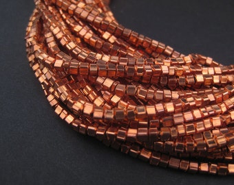245 Copper Mini-Cube Beads - Copper Beads - Small Metal Spacers - Jewelry Making Supplies - Copper Spacers ** (MET-CUB-CPR-137)