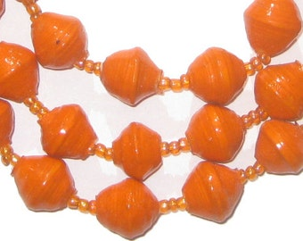 Orange Recycled Paper Bead Necklace from Uganda - African Paper Beads - Recycled Paper Necklace - Made in Uganda ** (PPR-BIC-ORG-109)