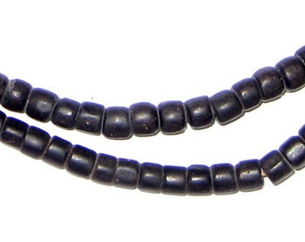 115 Old Black Kenya Turkana Beads - African Glass Beads - Jewelry Making Supplies - Made in Ghana ** (TRK-CYL-BLK-105)