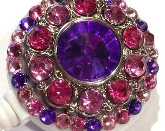 Pink & Purple Rhinestone and Swarovski Crystal Embellished ID Badge Reel
