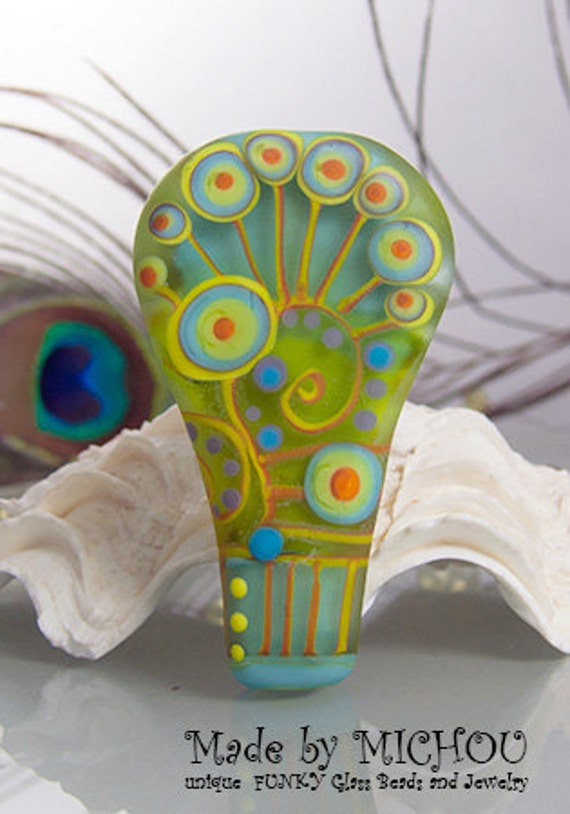 Golden Green Art Glass Focal Bead By Michou P Anderson