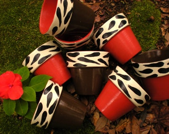Painted Flower Pots - Zebra Print - Outdoor Party Favors - Baby Shower Favors - Womens Event Favors