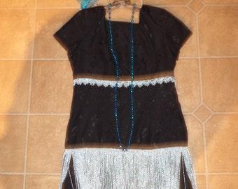 1920's  flapper Halloween GATSBY COSTUME black silver fringe dress womens 10