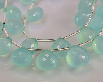 Sale -AAA Aqua Chalcedony Faceted Briolettes  Gemstone Briolettes