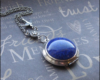 Silver Locket Necklace - Enchanted Lapis Lazuli - Picture Locket - Bird Necklace - Mother's Day Birthday Anniversary Gift - Vintage Style
