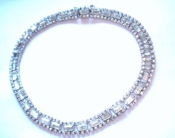 Vintage Jewelry Clear Rhinestone  Necklace