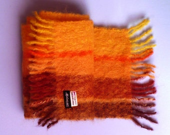 Vintage Mohair Scarf Unisex Winter Abraham & Straus Earth Autumn Colors