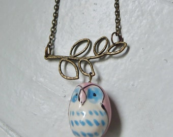 Owl Necklace. Ceramic. Branch. Pink. Blue. Whimsical Jewelry. Owl Jewelry. Hoot. Woodland. Bird. Geekery. Hand Painted. Leaf. Tree. Branch