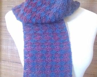 Multi Colored Blues/Burgundy Crochet Scarf