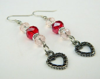 Pink and Red Glass Crystal Fashion Earrings with Heart Dangle