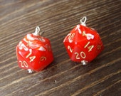 D20 dice earrings red white dice jewelry D20 earrings dungeons and dragons geek geekery geeky red white swirls
