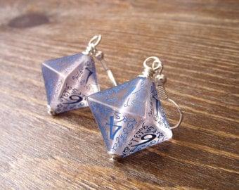 elf dice earrings elvish D8 dice see through blue inscriptions elvish runes transparent tolkien fantasy pathfinder dungeons and dragons die