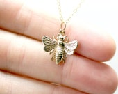 Gold Bee Necklace - Bumblebee Charm - Simple Honeybee Charm Necklace