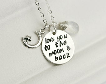 Mom Necklace - I love You to the Moon and Back Necklace - Mothers Day Gift - Sterling Silver Mothers Birthstone Necklace - Custom Mom Gift