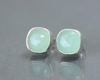 Aqua Gemstone Stud Earrings - Silver Bezel Set Earrings - Sterling Silver Aqua Chalcedony Gemstone Stud Earrings