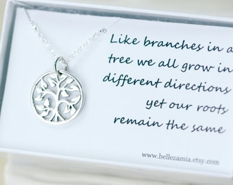 My Family Tree Necklace - Gift Necklace Sterling Silver Family Tree - Branches and Roots Family Necklace
