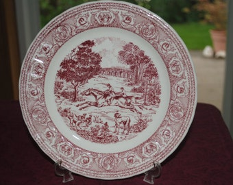 Red and White Transferware Plate     8 inches