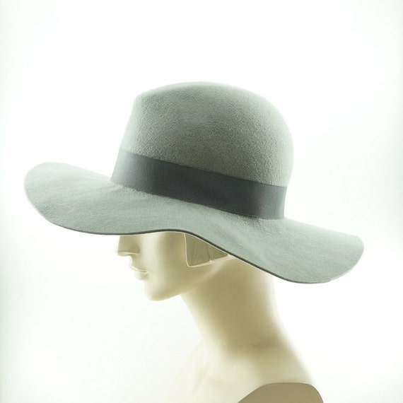 Gray Wide Brim Hat For Women Art Deco Fedora