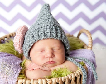 Baby Girl Hat, Crochet Newborn Girl Bonnet, Crochet Gray and Pink Bonnet, Photography prop
