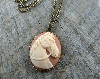 Equestrian Horse Necklace, Southwest Jewelry, Cameo Necklace, Cowboy Style Necklace - Cameo Horse