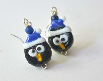 Blue Penguin Earrings - Lampwork Glass Earrings - Christmas Earrings - Santa Hat Earrings